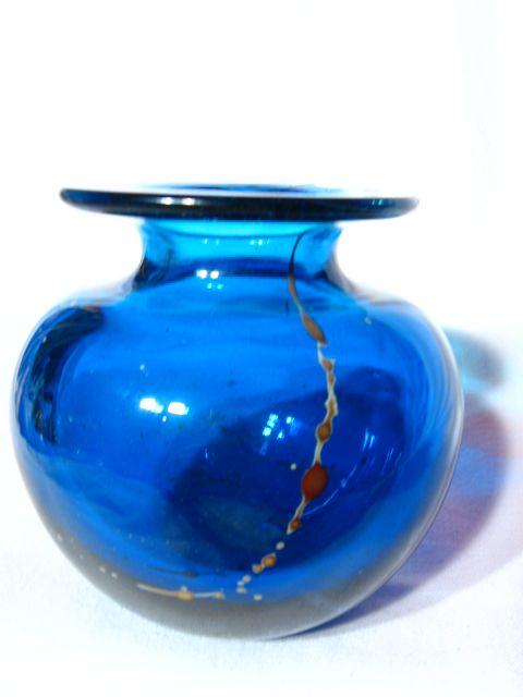 Vintage Mdina Maltese Blue With Trailings Squat Vase