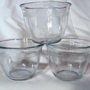 Set Of 3 Fire King Sapphire Blue Philbe 6oz Deep Custard Cups
