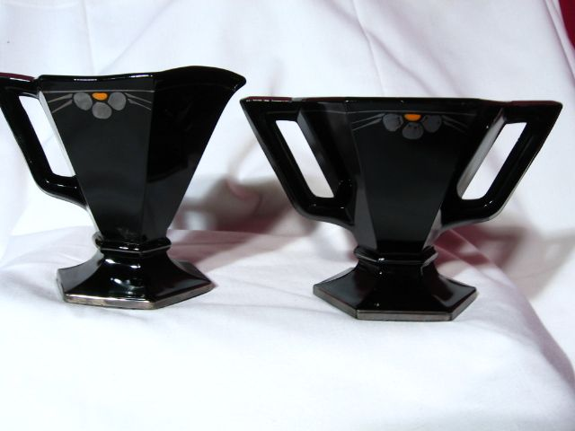 Vintage Art Deco Hexagon Black Glass Creamer And Sugar bowl
