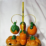 Vintage Made In Japan Oranges Condiment Set