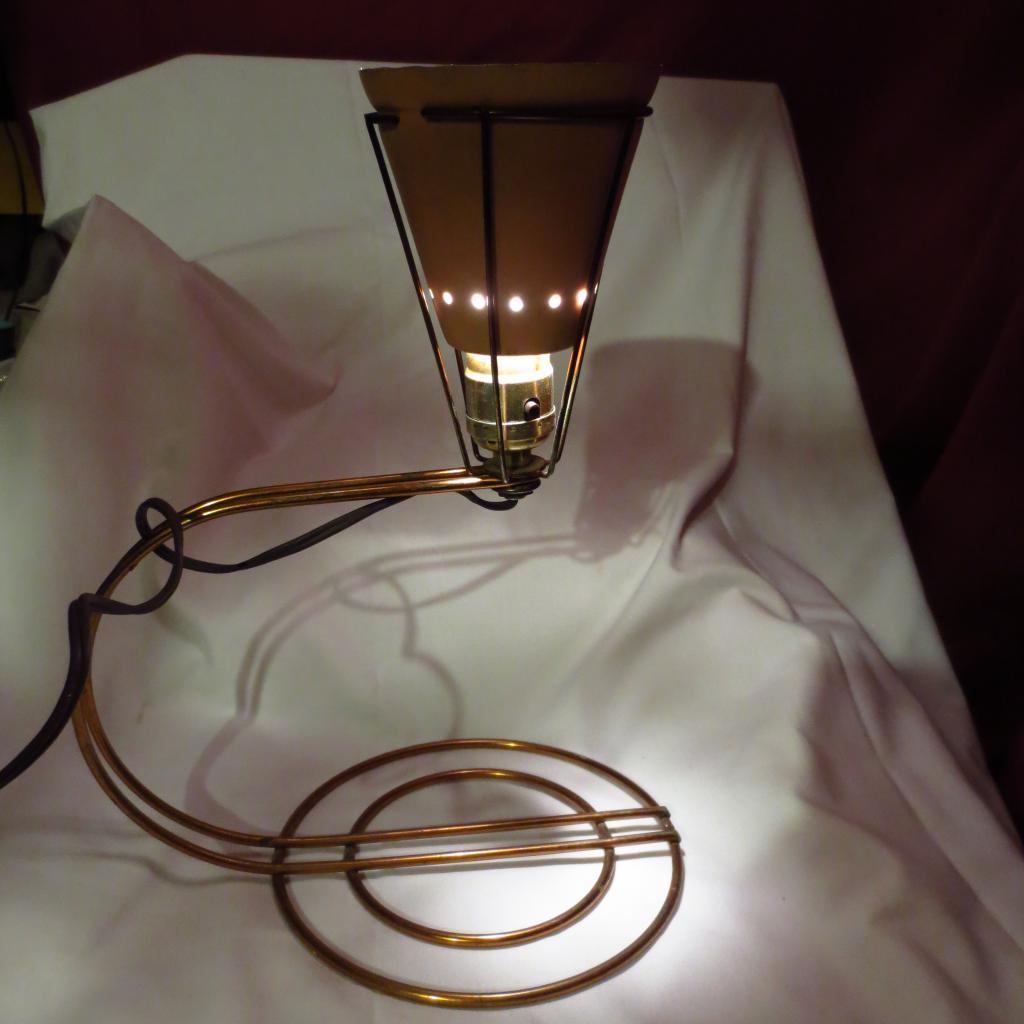 Vintage 1950's Space Age Aluminum And Copper Desk Lamp