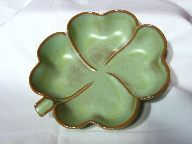 Frankoma Prairie Green 4 Leaf Clover Dish