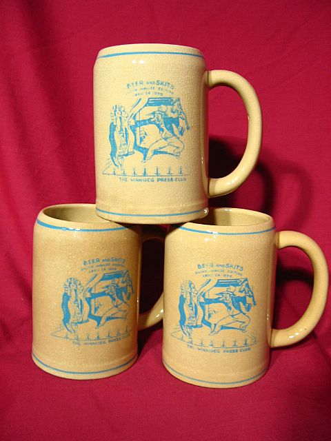 New Medalta Ceramic Winnipeg Press Club Beer Mug Trio