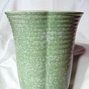 Crown Devon Large Ribbed Green Splatter Vase