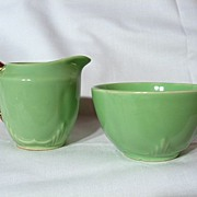 Biltons Art Deco Jade Green Individual Milk Jug & Sugar Bowl
