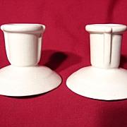 Royal Haeger Ivory Satin Matte Art Deco Candleholders