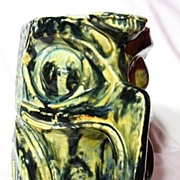 Native American Studio Pottery West Coast Raven Totem Stein