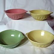 Vintage Metlox Poppytrail Yorkshire Lug Coupe Soup Bowls