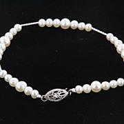 Chic Fine Estate 14 Karat White Gold Freshwater Pearl Link Bracelet Jewelry Heirloom