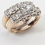 SALE PENDING Fine Vintage 14 Karat Gold Diamond Wedding Ring Set Jewelry