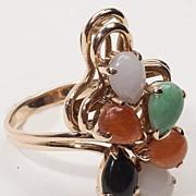 Vintage 14 Karat Gold Jade Cocktail Ring Estate Jewelry Fine