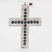 Estate 18 Karat White Gold Diamond Sapphire Religious Cross Pendant Fine Jewelry
