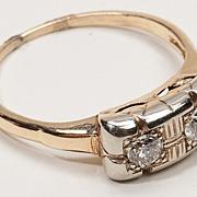 Art Deco 14 Karat Gold Diamond Ring Estate Fine Jewelry Old