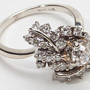 Art Deco Diamond 14 Karat White Gold Cocktail Ring Vintage