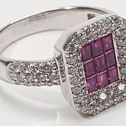 Estate 14 Karat White Gold Ruby Diamond Ring Fine Jewelry Right Hand Engagement