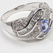 Estate 14 Karat White Gold Tanzanite Diamond Cocktail Ring Fine Jewelry Precious Rare