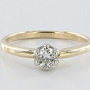 Vintage 14 Karat Yellow White Gold Diamond Engagement Ring Estate Fine Jewelry Heirloom Fine 7.5