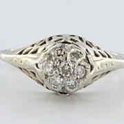 Art Deco 14 Karat White Gold Diamond Cluster Filigree Ring Vintage Jewelry