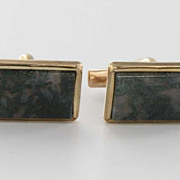 SALE PENDING Vintage 9 Karat Yellow Gold Mens Moss Agate Cufflinks Estate Fine Jewelry English
