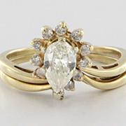 Vintage 14 Karat Yellow Gold Diamond Wedding Ring Set Fine Bridal Jewelry 9.5 9 1/2