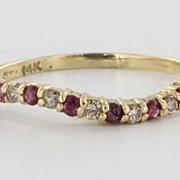 Vintage 14 Karat Yellow Gold Diamond Ruby Undulating Stack Band Fine Jewelry 8.75