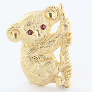 Vintage 14k Yellow Gold Ruby Koala Bear Pin Brooch Fine Estate Jewelry Pre-Owned
