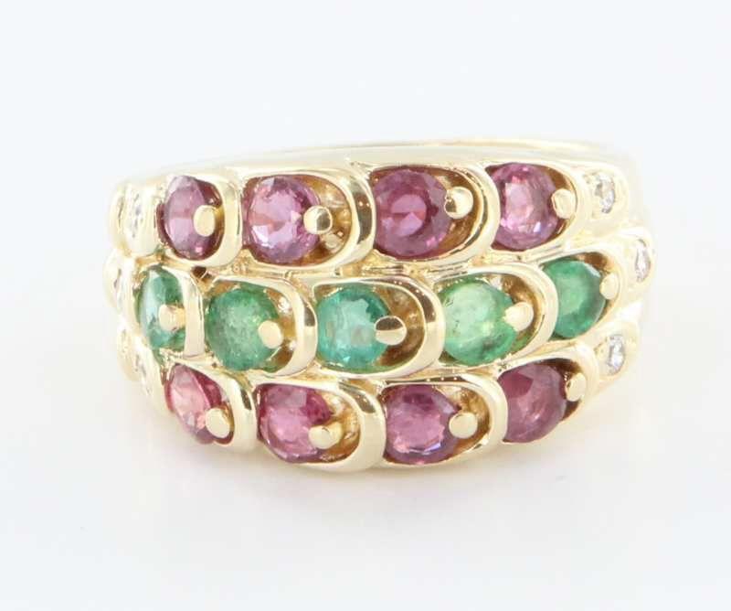 Vintage 14 Karat Gold Emerald Ruby Cigar Band Ring Estate Fine Jewelry Heirloom Sz 7