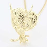 Vintage 14 Karat Yellow Gold Diamond Owl Bird Pendant Necklace Fine Estate Jewelry Used