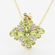 Estate 10 Karat 14 Karat Yellow Gold Diamond Peridot Pendant Necklace Fine Jewelry Used
