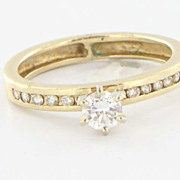 Estate 14 Karat Yellow Gold Diamond Engagement Ring Fine Jewelry Pre-Owned Used