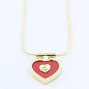 REDUCED Vintage Hammerman Bros Coral Heart Necklace Estate Designer Jewelry Fine