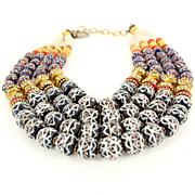 Estate Masha Archer Multi 4 Strand Collar Necklace Designer Jewelry Coral Navy