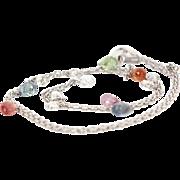Vintage 14 Karat White Gold Briolette Sapphire Diamond Charm Necklace Fine Estate Jewelry