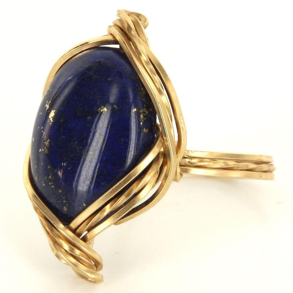 vintage 14 karat yellow gold lapis lazuli cocktail ring