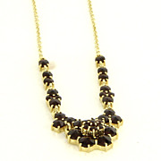 Vintage 14 Karat Yellow Gold Bohemian Garnet Flower Necklace Fine Jewelry Estate