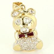 Vintage 14 Karat Yellow Gold Diamond Ruby Teddy Bear Pendant Fine Estate Jewelry