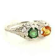 Vintage 14 Karat White Gold Orange Sapphire Tsavorite Green Garnet Filigree Ring