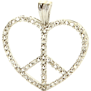 Vintage 10 Karat White Gold Diamond Heart Peace Pendant Fine Estate Jewelry