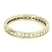 Vintage 900 Platinum Diamond Eternity Wedding Stack Band Ring Fine Estate Jewelry