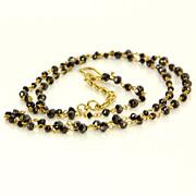 Estate 18 Karat Yellow Gold Black Diamond Long Cocktail Necklace Fine Jewelry