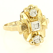 Vintage 14 Karat Yellow Gold Diamond Embossed Flower Cocktail Ring Fine Jewelry