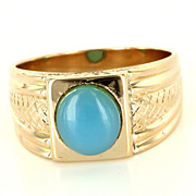 Vintage 18 Karat Yellow Gold Blue Chalcedony Mens Cocktail Ring Fine Jewelry