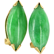 Vintage 14 Karat Yellow Gold Jade Clip Cocktail Earrings Fine Estate Jewelry