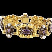 Art Deco 18 Karat Yellow Gold Amethyst Diamond Cultured Pearl Bracelet