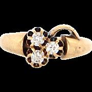 Victorian 14 Karat yellow Gold Diamond Baby Child Midi Clover Ring Vintage