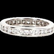 Estate 18 Karat White Gold Diamond Eternity Stack Ring Wedding Band Size 5.5