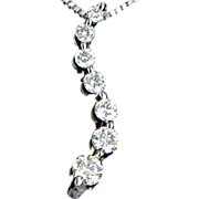 Estate 14 Karat White Gold Diamond Journey Pendant Necklace Fine Jewelry