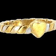 Estate Designer Gucci 18 Karat Yellow White Gold Heart Stack Band Ring Sz. 6