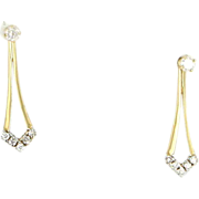 Vintage 10 Karat Yellow Gold Diamond Removable Convertible Drop Stud Earrings