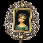 Vintage 14 Karat Yellow Gold 925 Sterling Silver Diamond Yellow Sapphire Large Painted Portrai